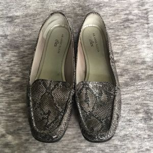 Snake skin slip on shoes